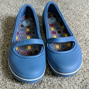 Crocs blue slip on Mary Jane shoe lined